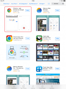 Apple iOS Appストア Chrome検索結果