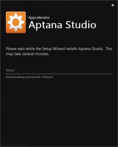 Aptana Studio 3 インストール中