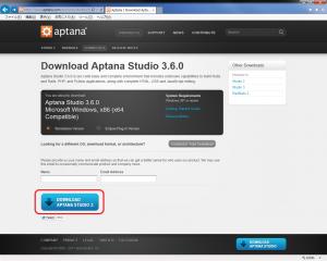 Aptana Studio 3  ダウンロードサイト