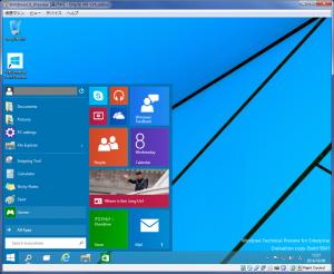 Windows10Preview スタートメニュー