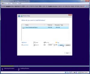 Windows10Preview インストールディスク設定