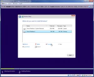 Windows10Preview インストールパーティション作成後